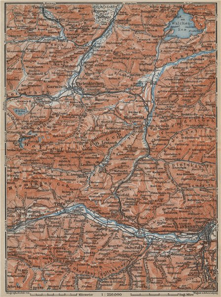 Associate Product Garmisch-Partenkirchen Mittenwald Innsbruck Inntal Wetterstern Isartal  1914 map