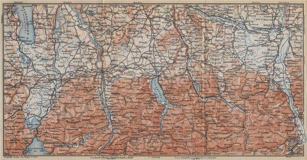 Associate Product BAYERISCHE ALPEN. Bavarian Alps. Lenggries Spitzingsee Bayrischzell 1914 map