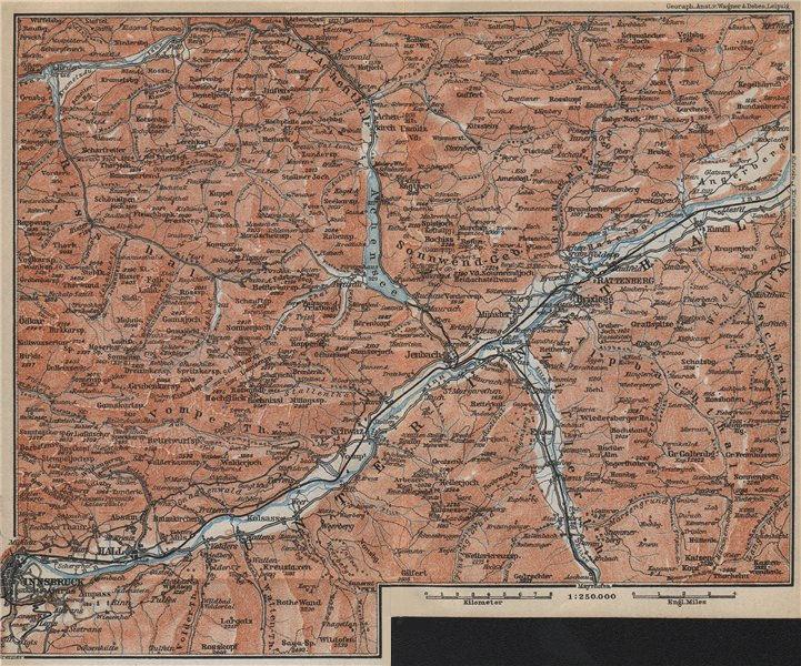 Associate Product ACHENSEE environs/umgebung. Unterinntal Rattenberg Innsbruck Karwendel 1914 map