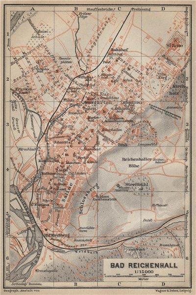 Associate Product BAD REICHENHALL town city plan. Oberbayern Bavaria Germany Deutschland 1914 map