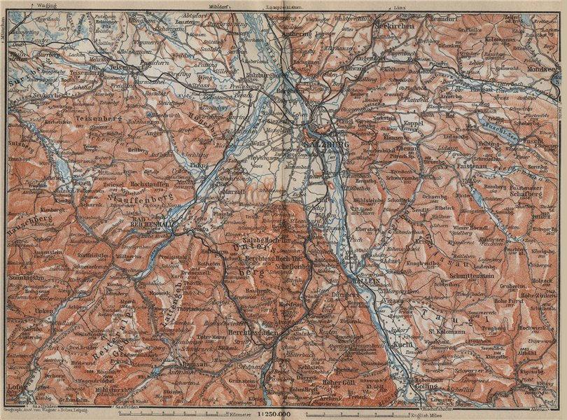 Associate Product SALZBURG environs. Berchtesgaden Faistenau Seekirchen Reichenhall 1914 old map