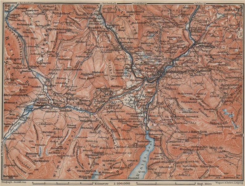 Associate Product BERCHTESGADEN & environs/umgebung. Hallein Königsee. Deutschland karte 1914 map