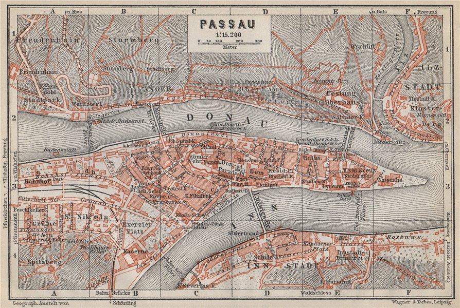 Associate Product PASSAU town city plan stadtplan. Inn Donau/Danube. Germany Deutschland 1914 map