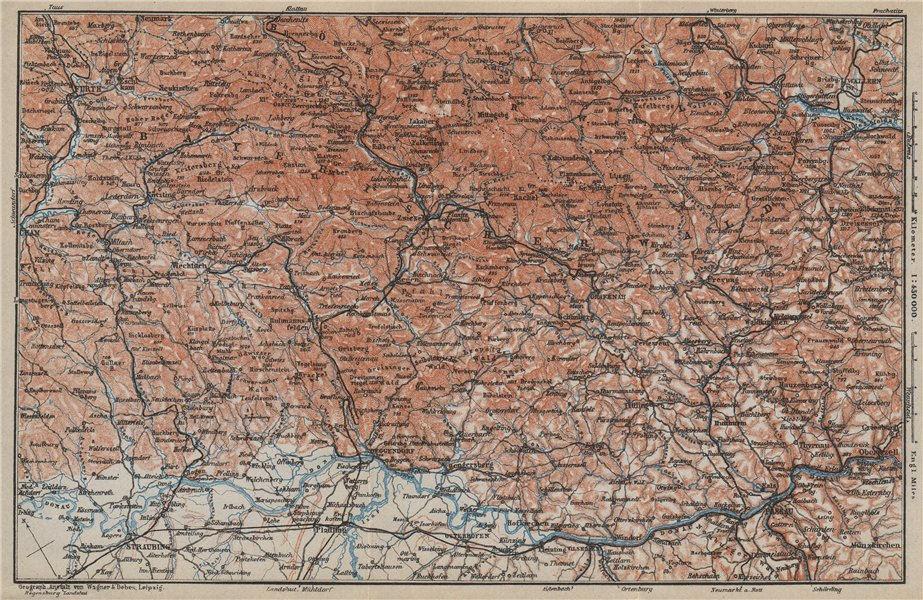 Associate Product BAYRISCHERWALD. Bavarian Forest Cham Passau Böhmerwald karte. BAEDEKER 1914 map