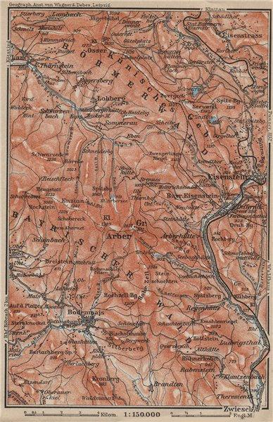 Associate Product BAVARIAN/BOHEMIAN FOREST Bayrischer/Böhmerwald. Bodenmais Zelezna Ruda 1914 map