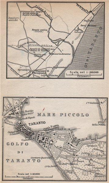 Associate Product METAPONTUM/METAPONTO & TARANTO antique town city plan. Italy mappa 1896
