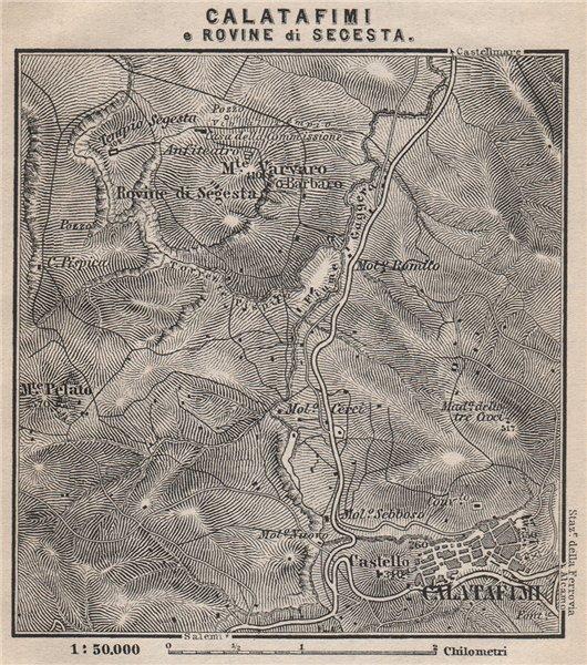 Associate Product CALATAFIMI e ROVINE di SEGESTA environs. Plan. Italy mappa. SMALL 1896 old