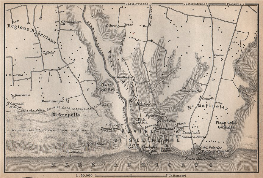 Associate Product DISTRICT OF SELINUS. ROVINE DI SELINUNTE. Sicily. Italy mappa 1896 old