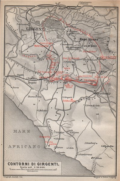 Associate Product Contorni di AGRIGENTO environs. Girgenti. Italy mappa. BAEDEKER 1896 old