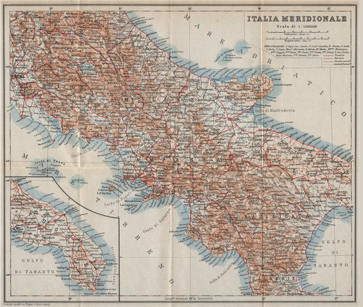 Associate Product SOUTHERN ITALY. ITALIA MERIDIONALE. Topo-map mappa. BAEDEKER 1912 old