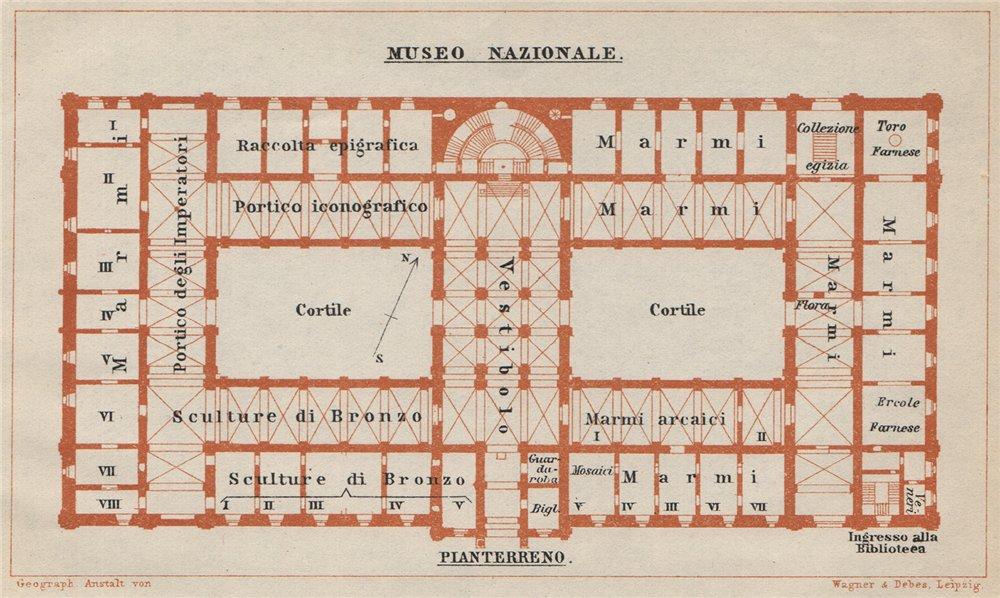 Associate Product MUSEO NAZIONALE ROMANO PIANTERRENO ground floor plan Rome mappa. SMALL 1912