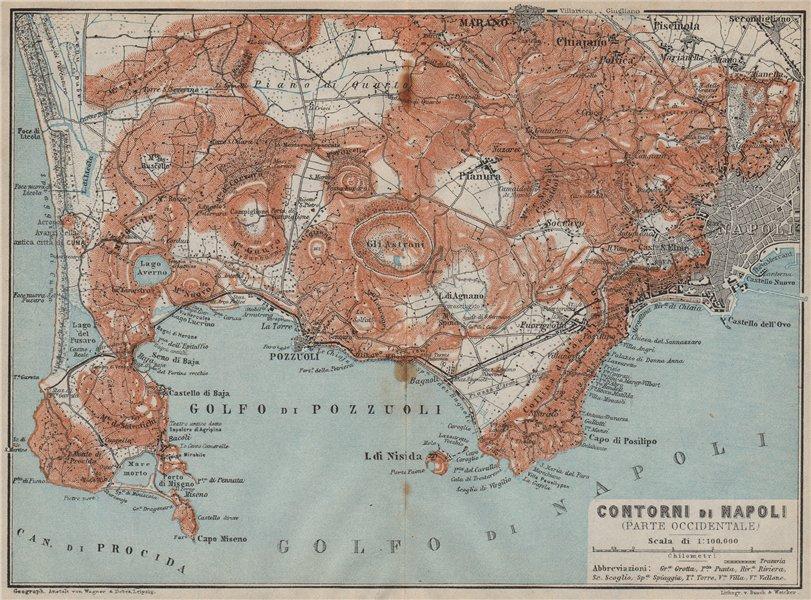 Associate Product Contorni di NAPOLI. NAPLES western environs. Golfo di Pozzuoli. Italy 1912 map