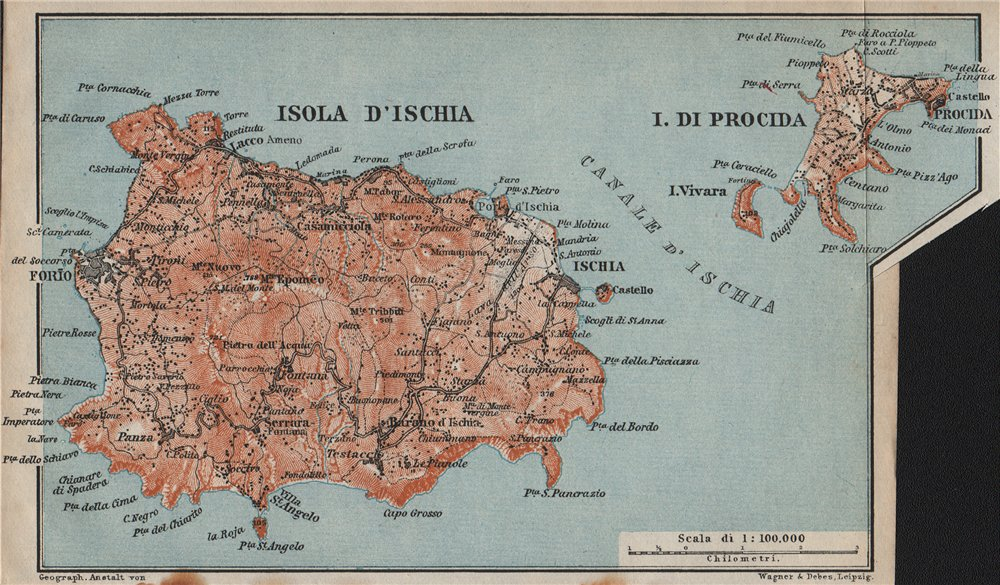 Associate Product Isola d'ISCHIA & PROCIDA islands. Forio. Italy mappa. BAEDEKER 1912 old