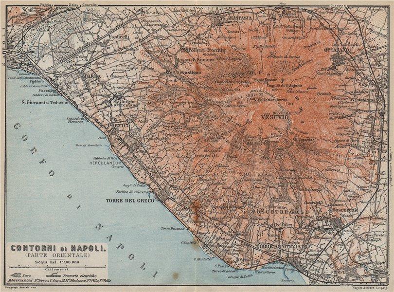 Associate Product Contorni di NAPOLI. NAPLES eastern environs. Vesuvio Vesuvius. Italy 1912 map