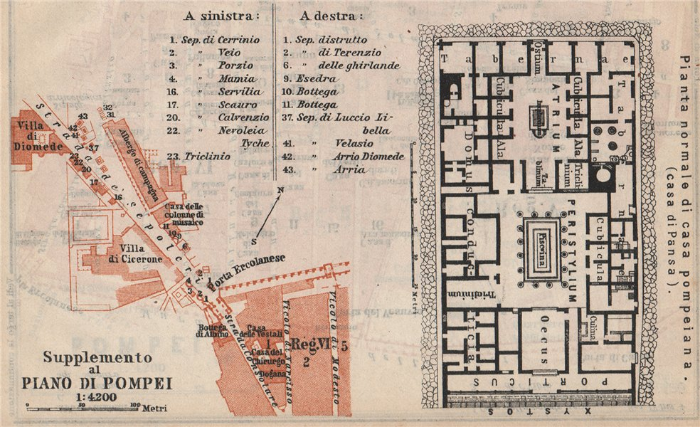 Associate Product POMPEII. Strada dei Sepolcri. Pompeian house. Casa di Pansa floor plan 1912 map