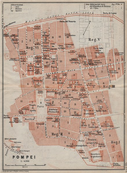 Associate Product POMPEII antique town city plan piano urbanistico (1). Italy mappa 1912 old