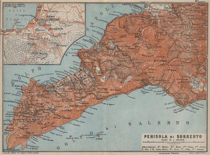 Associate Product Penisola SORRENTO Peninsula. Castellammare di Stabia Positano Praiano 1912 map