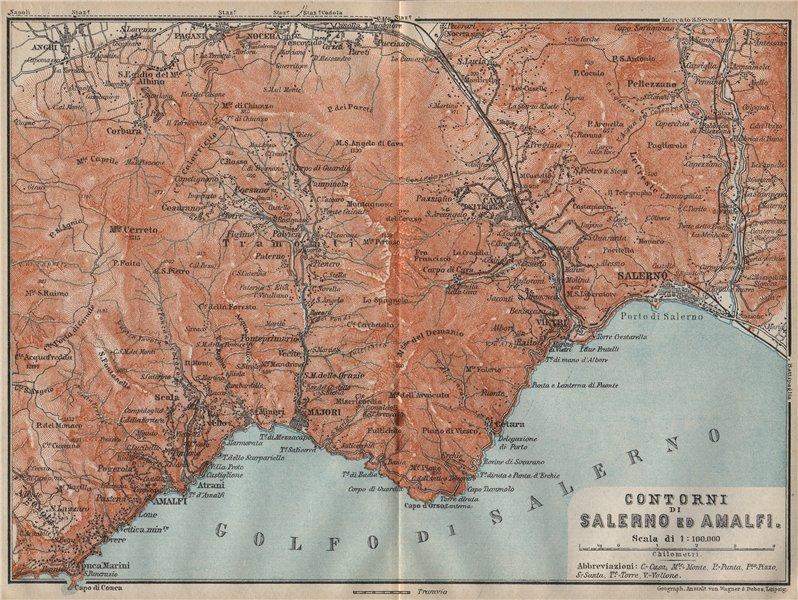 Associate Product AMALFI COAST Maiori Vietri Cava de'Tirreni Salerno Costiera Amalfitana 1912 map