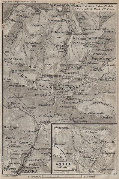 Associate Product GRAN SASSO D'ITALIA & AQUILA town city plan. Paganica. Italy mappa 1912