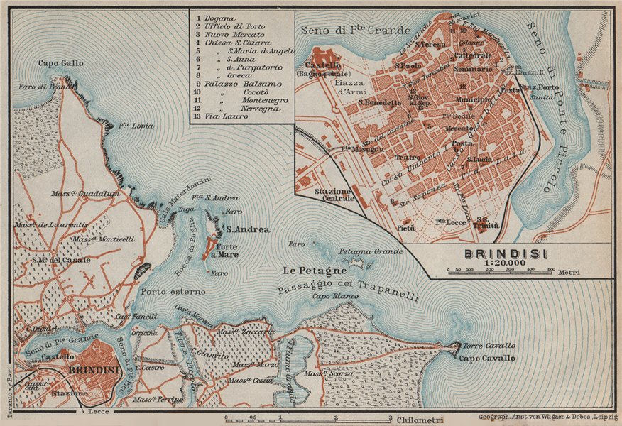Associate Product BRINDISI town city plan piano urbanistico & environs. Italy mappa 1912 old