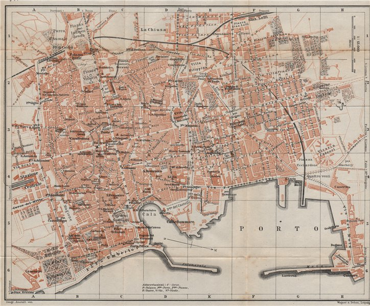 Associate Product PALERMO antique town city plan piano urbanistico. Italy mappa 1912 old
