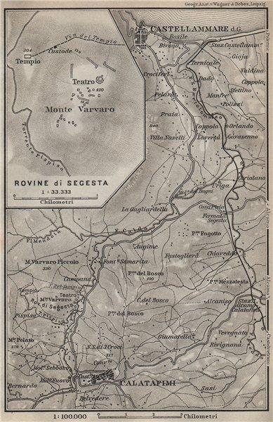 Associate Product CALATAFIMI & CASTELLAMMARE del Golfo environs Rovine di Segesta. Italy 1912 map