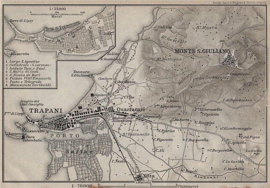 Associate Product TRAPANI town plan & environs. Monte San Giuliano/Erice. Sicily Sicilia 1912 map
