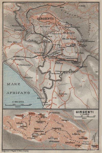 Associate Product Contorni di AGRIGENTO environs. Girgenti. Italy mappa. BAEDEKER 1912 old