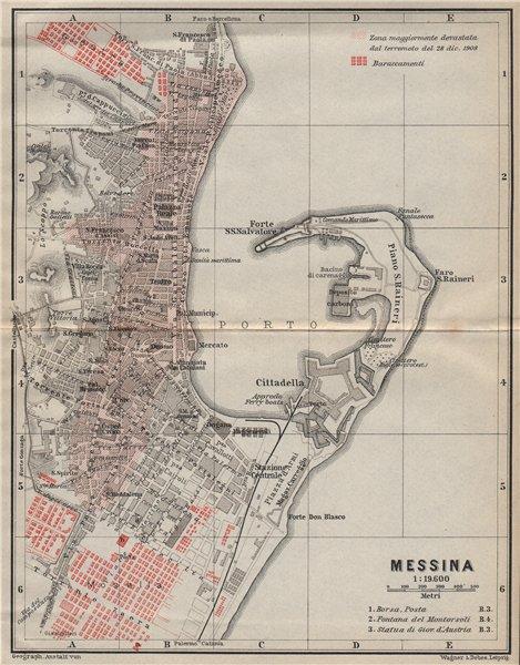 MESSINA town city plan piano urbanistico & environs. Italy mappa 1912 old