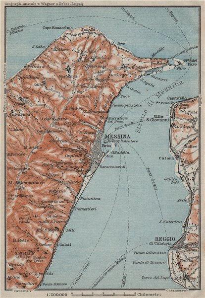 Associate Product STRAIT OF/Stretto di MESSINA. Reggio di Calabria. Italy Sicily Sicilia 1912 map