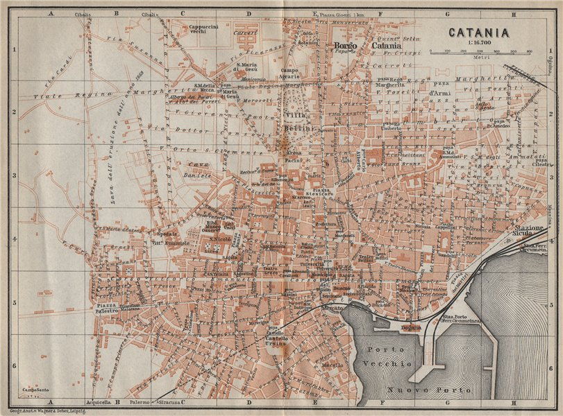 Associate Product CATANIA antique town city plan piano urbanistico. Italy mappa 1912 old