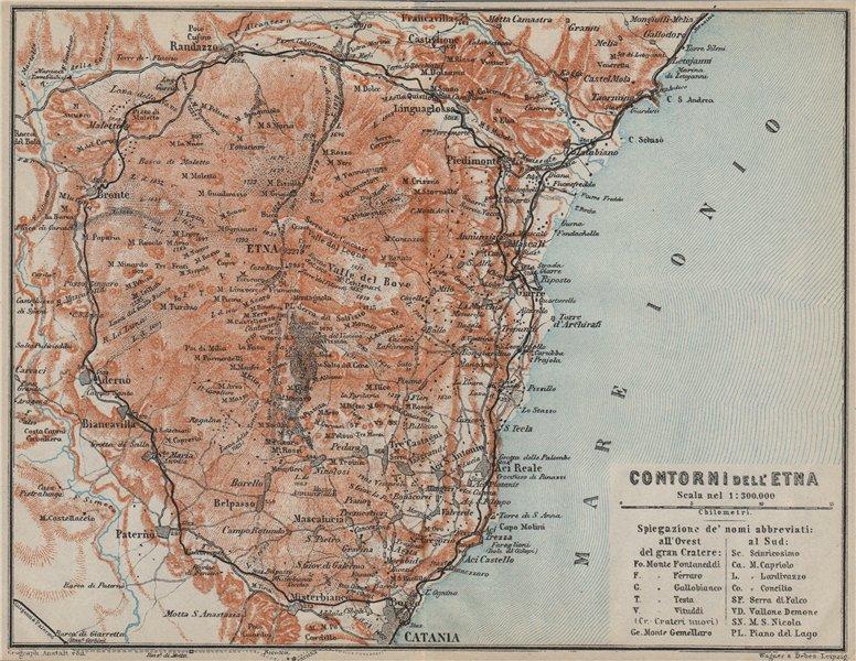 Associate Product MOUNT ETNA environs/contorni. Catania Giarre Acireale. Sicily Sicilia 1912 map