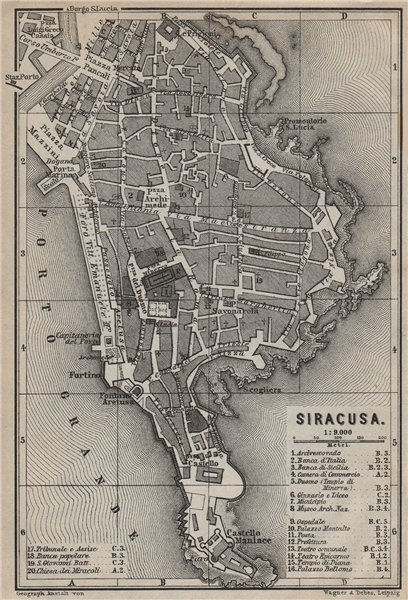 Associate Product SIRACUSA (SYRACUSE) town city plan piano urbanistico. Italy mappa 1912 old