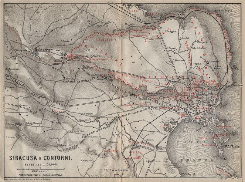 Associate Product SYRACUSE plan/environs. SIRACUSA e contorni. Italy mappa. BAEDEKER 1912