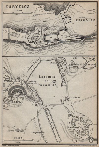 Associate Product SYRACUSE SIRACUSA. Eurylos fortress & Theatre ground plan. Teatro 1912 old map