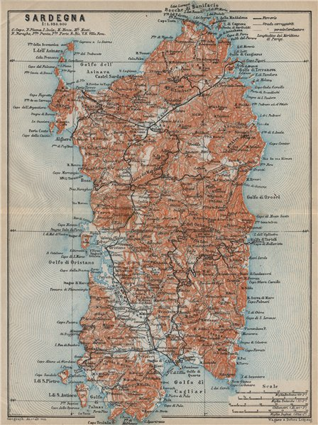 Associate Product SARDINIA SARDEGNA. Italy mappa. BAEDEKER 1912 old antique plan chart