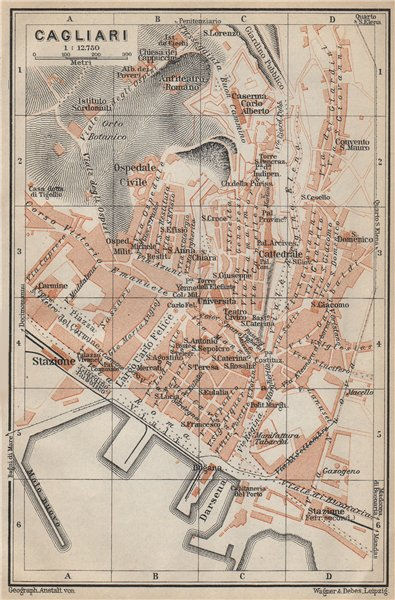 Associate Product CAGLIARI antique town city plan piano urbanistico. Italy mappa 1912 old