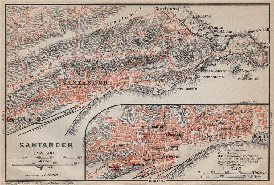 Associate Product SANTANDER antique town city ciudad plan & environs. Spain España mapa 1913