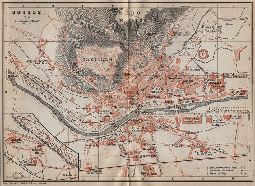 Associate Product BURGOS antique town city ciudad plan. Spain España mapa. BAEDEKER 1913 old
