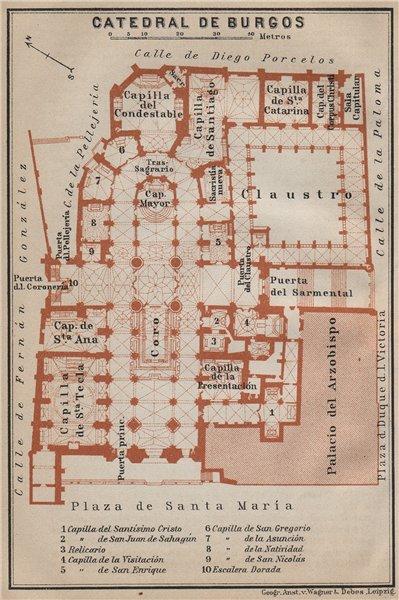 Associate Product CATHEDRAL/ CATEDRAL DE BURGOS floor plan. Spain España mapa. BAEDEKER 1913