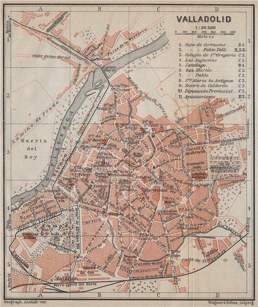 Associate Product VALLADOLID antique town city ciudad plan. Spain España mapa. BAEDEKER 1913