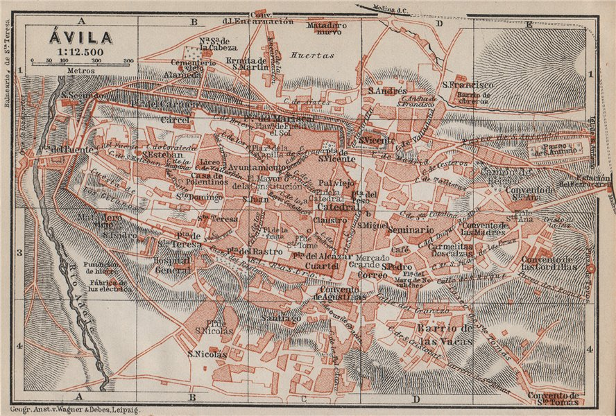 Associate Product AVILA ÁVILA antique town city ciudad plan. Spain España mapa. BAEDEKER 1913
