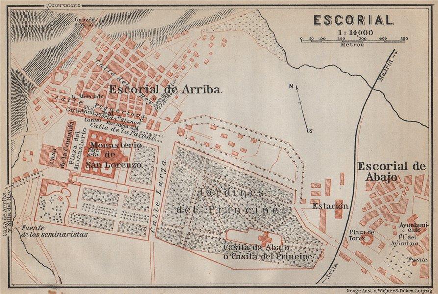 Associate Product EL ESCORIAL ground plan. Spain España mapa. BAEDEKER 1913 old antique
