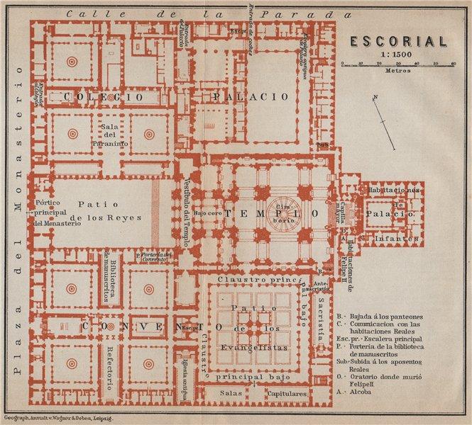 Associate Product EL ESCORIAL floor plan. Spain España mapa. BAEDEKER 1913 old antique chart
