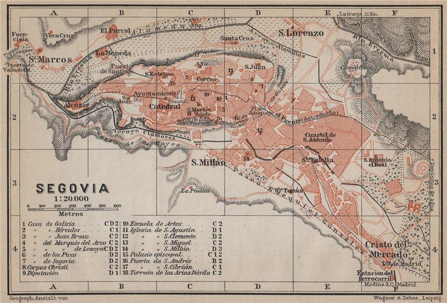 Associate Product SEGOVIA antique town city ciudad plan. Spain España mapa. BAEDEKER 1913