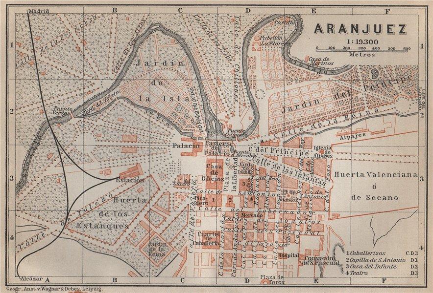 Associate Product ARANJUEZ antique town city ciudad plan. Spain España mapa. BAEDEKER 1913