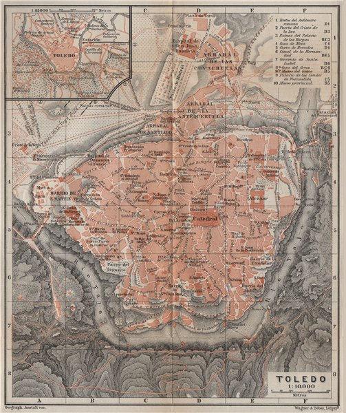 Associate Product TOLEDO antique town city ciudad plan. Spain España mapa. BAEDEKER 1913 old