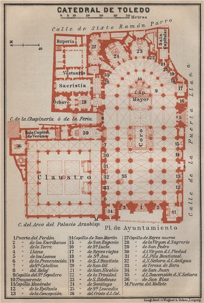Associate Product CATHEDRAL OF / CATEDRAL DE TOLEDO floor plan. Spain España mapa 1913 old