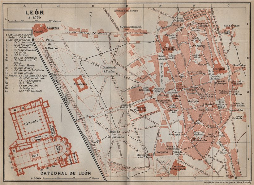 LEON LEÓN town city plan. Cathedral Catedral floor plan. Spain España 1913 map