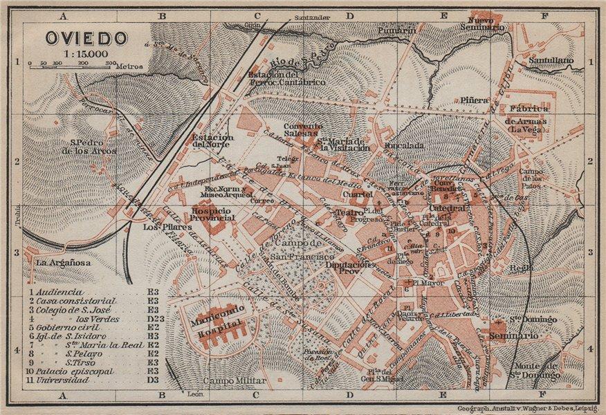 Associate Product OVIEDO antique town city ciudad plan. Spain España mapa. BAEDEKER 1913 old